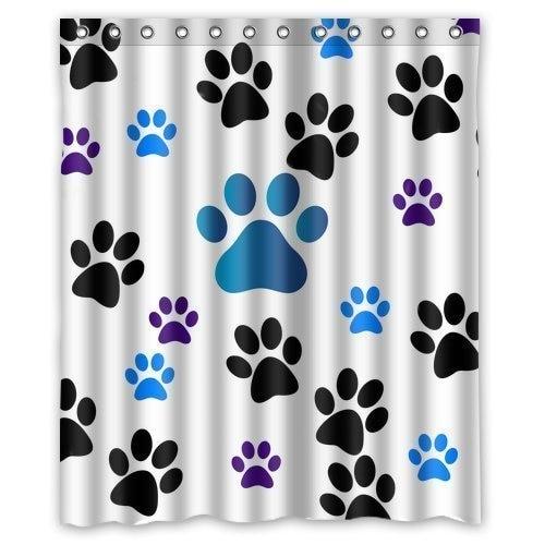 Blue Black Purple Paw Print Shower Bathroom Curtain With 12 Hooks