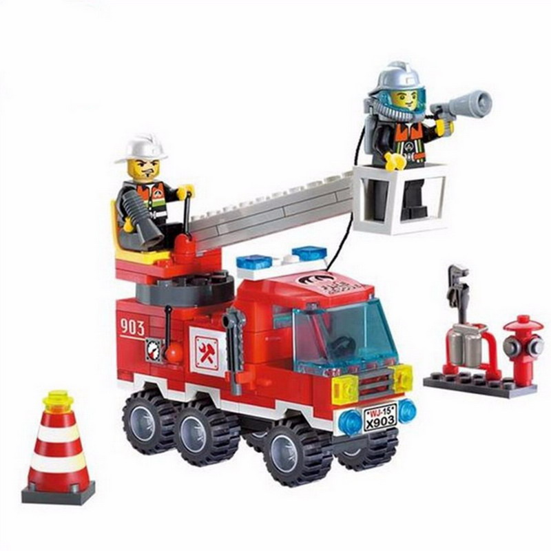 903 Enlighten 2 In 1 Fire Fighting Truck Model Building Blocks Construction DIY Action Figure Toys For Children Compatible Legoe 1402 enlighten star wars 8 in 1 aircraft carrier ship tank model building blocks diy figure toys for children compatible legoe