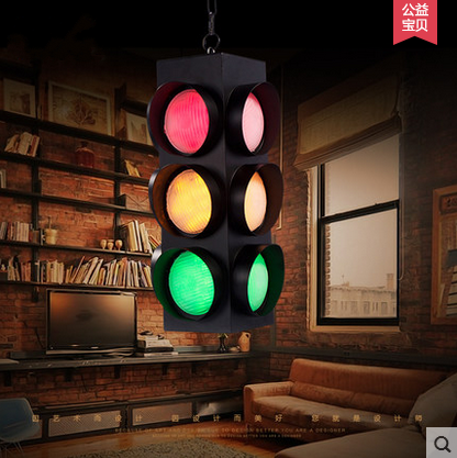 Industrial Wind Retro Restaurant Cafe Bar Omnibearing Telecontrol LED Traffic Light Caution Ceiling Light