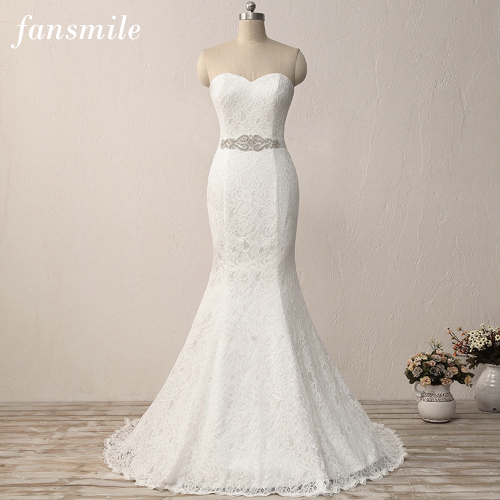 Fansmile New Simiple Mariage Vintage Lace Gowns Mermaid Wedding Dress Plus Size 2019 Customized Bridal Wedding Dress FSM-449M