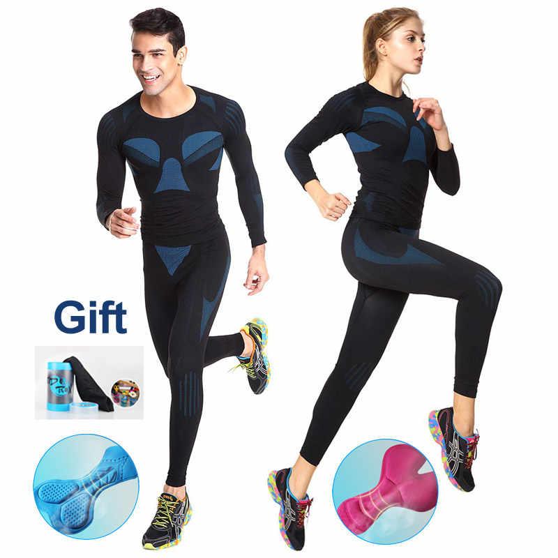 רכיבה על אופניים ג 'רזי סט חורף גברים נשים רשת סקי ספורט דחיסת בסיס שכבה חליפת כושר Skinsuit אופני בגדים