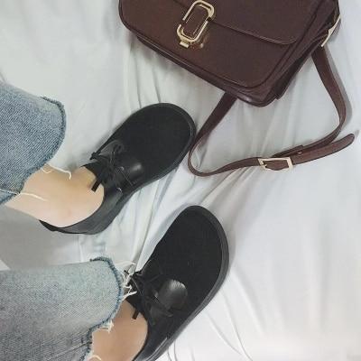 Coréenne Vent Version Femelle La Petit Britannique Collège noir Harajuku Sauvage Simples Étudiants De Beige Chaussures Marée En Cuir Sœur Doux gxXx4YqO