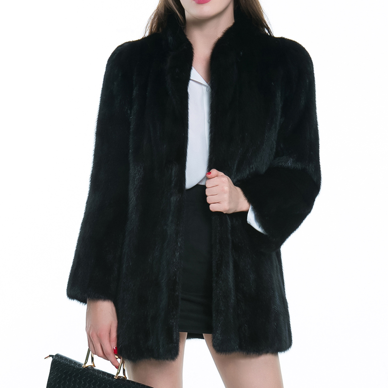 2bae1f8c2 US $21.36 26% OFF|Women Winter Warm Black Faux Fur Coat Stand Collar  Thicken Warm Soft Fluffy Fur Jackets Hairy Outerwear Overcoat XXXL  6Q0196-in Faux ...