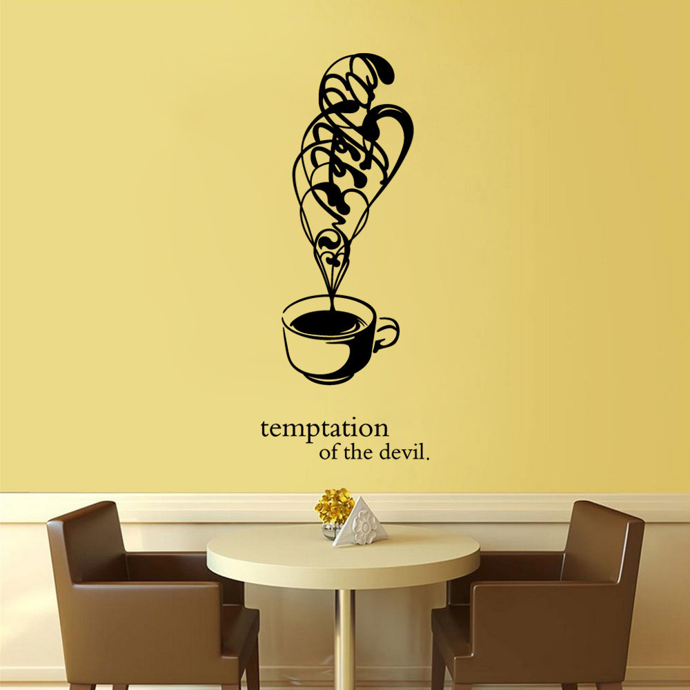 New Arrival Beautiful Design Wall stickers Coffee Cups Cafe Tea Wall ...
