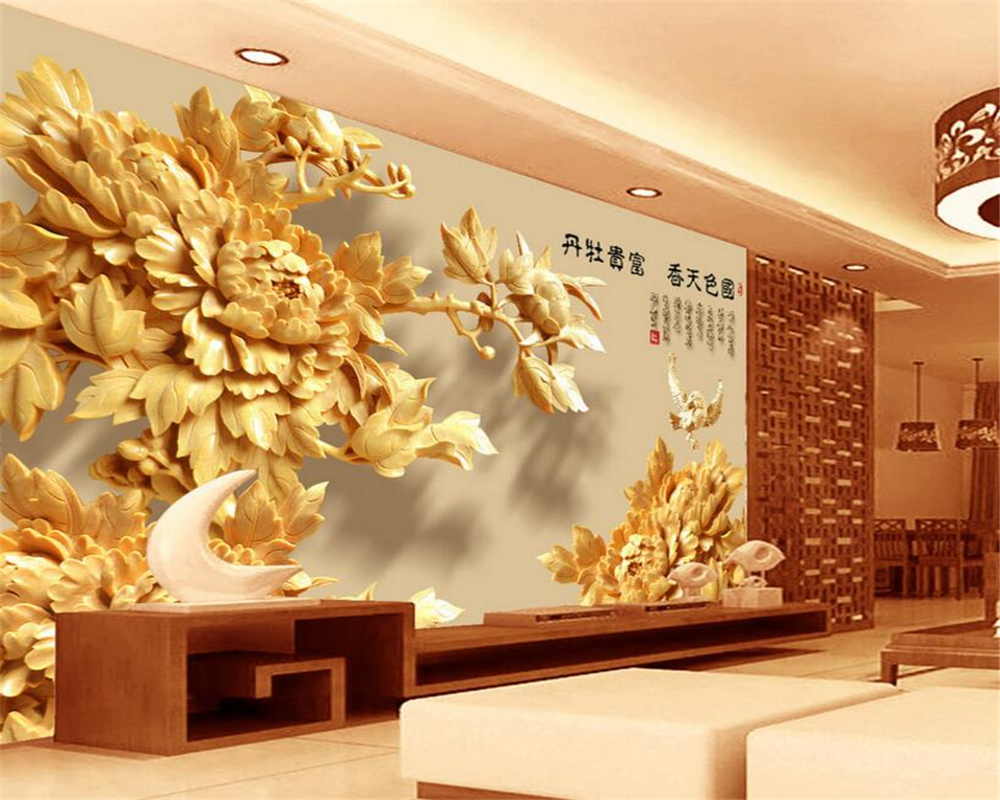 Beibehang 3D Wallpapers Classic Stereo Wooden Peony Flower Living Room Bedroom TV Background mural photo wallpaper for walls 3 d geography of south africa mural wallpaper 3d in european style living room tv wall background 3d wallpapers for walls