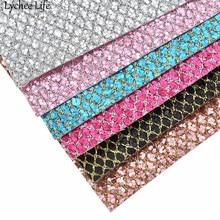 Lychee Life 29x21 см Сетка блеск синтетическая кожа ткань A4 PU ткань DIY ручной работы Швейные принадлежности для одежды украшения