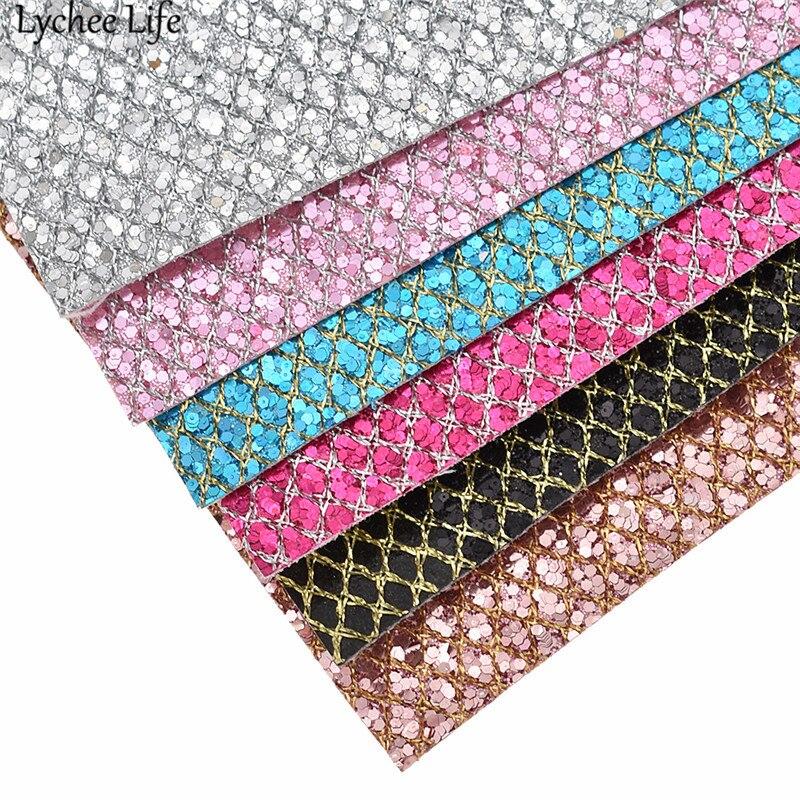 Личи жизни 29×21 см Сетка Блеск Ткань Синтетическая кожа A4 PU Ткань DIY ручной работы одежда поставляет украшения