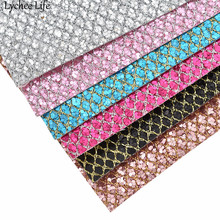 Lychee Life 29x21cm Grid Glitter Synthetic Leather Fabric A4 PU DIY Handmade Sewing Clothes Supplies Decorations