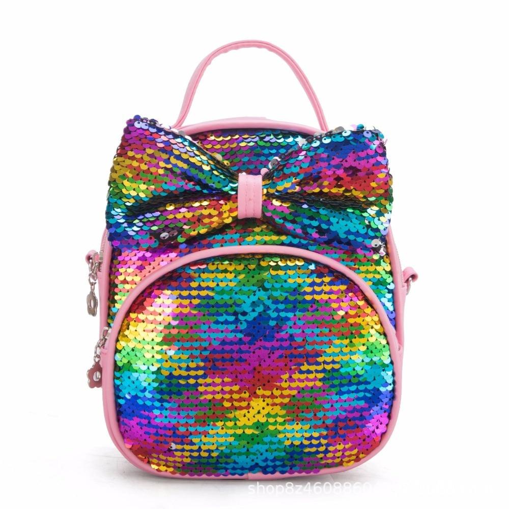 2019 New 3D Girl School Bags Small Bag Shoulder Sequins Laser Sparkle Children Backpack Girl Backpack Female Mochila Escolar