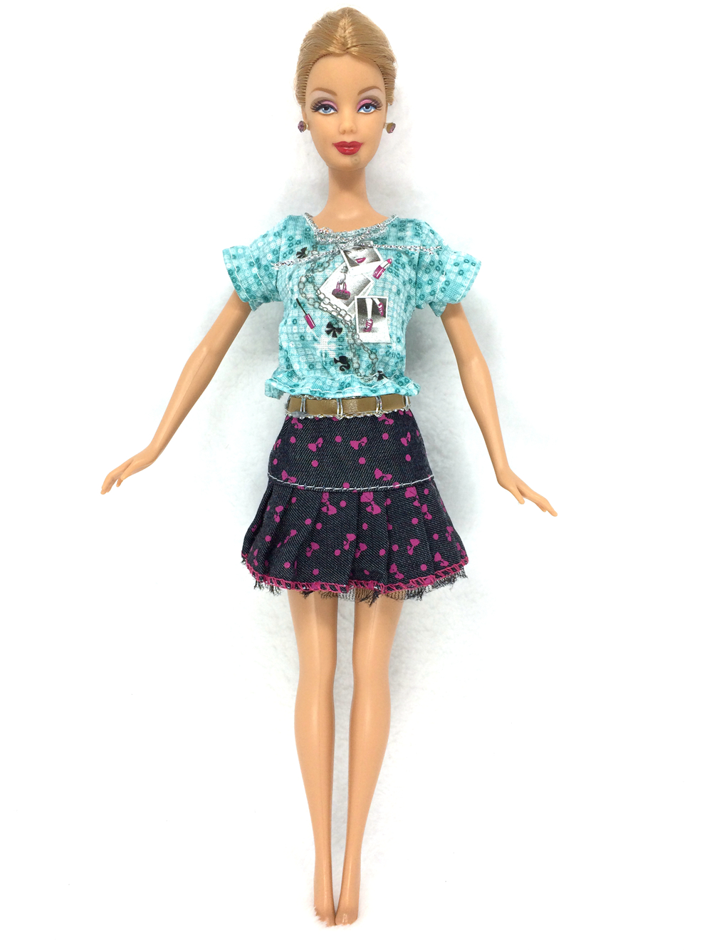 NK One Set Doll Garments  Style Outfit  Denims Skirt Cute Printing Clothesing For Barbie Doll Lady Favorite Reward Occasion Robe 08A