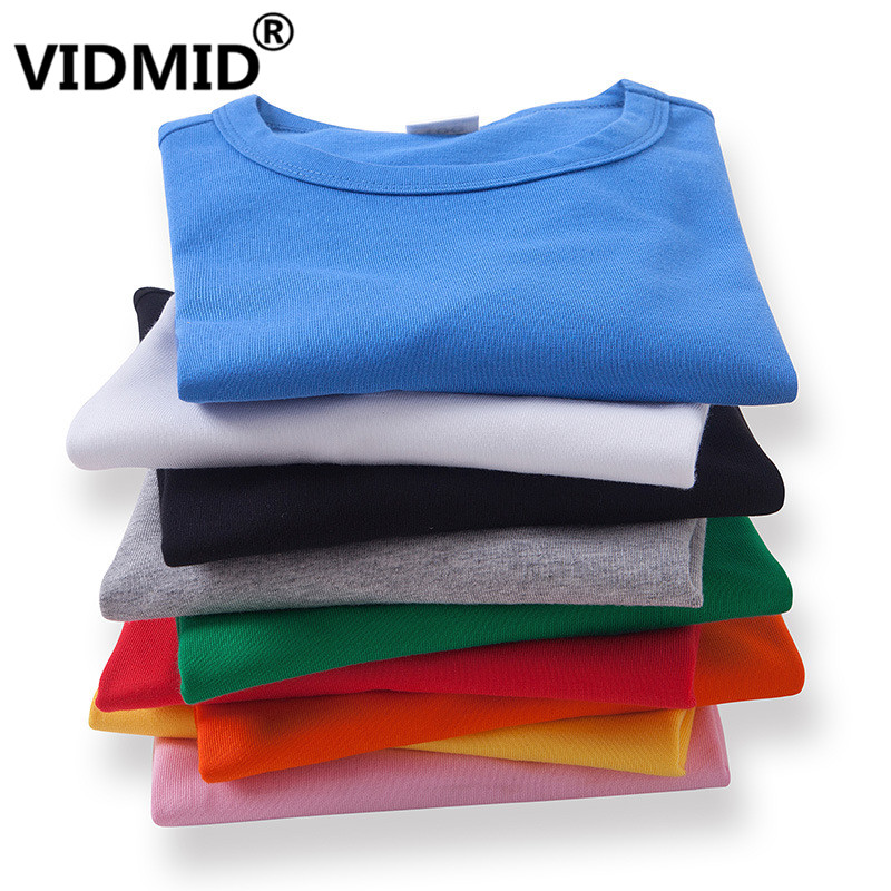 VIDMID Baby Boys Girls Tops Kids Cotton T-shirt Casual Candy Colors Clothes For Kids Boys Girls Tops Children T-shirts Tees 7060
