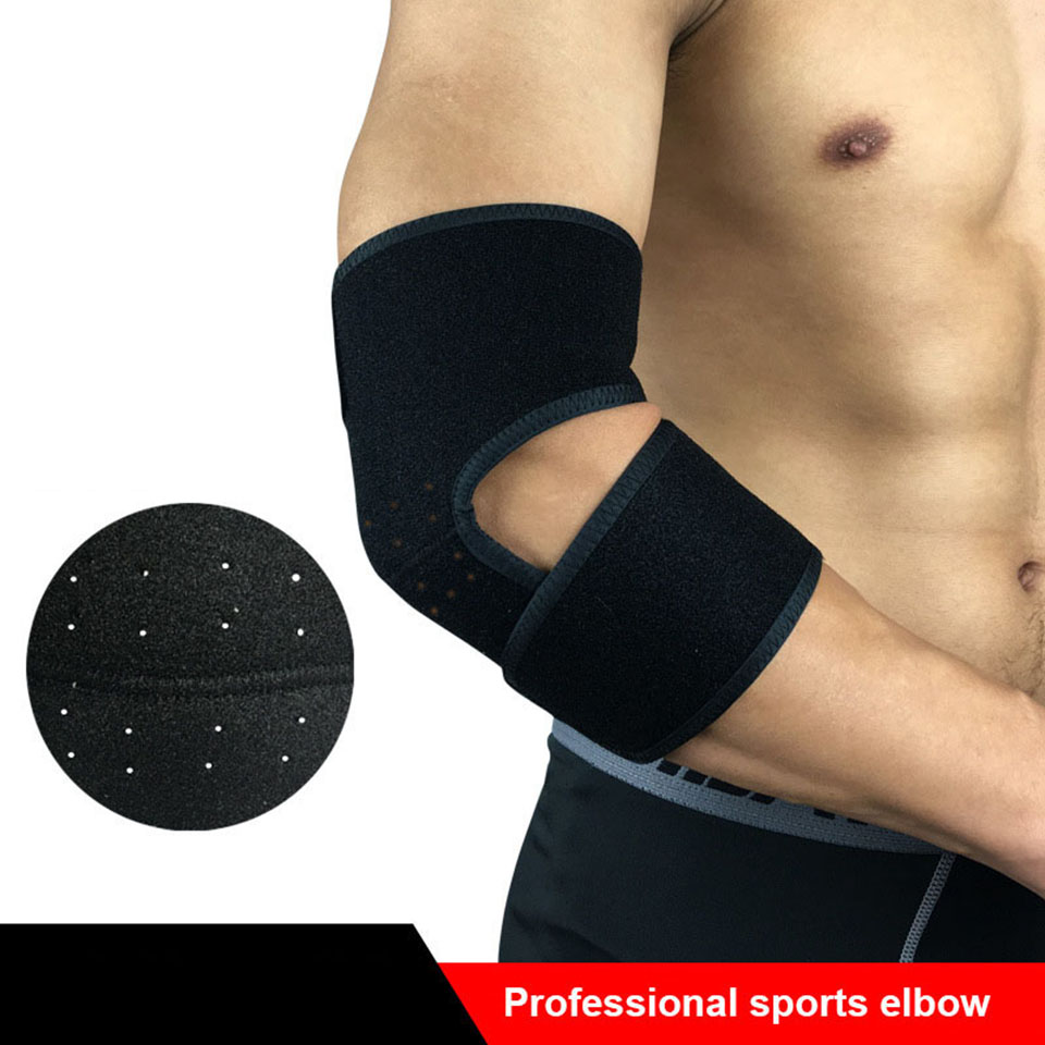 1PCS Elastic bandage tennis elbow support protector basketball running volleyball compression adjustable elbow pad brace Black adjustable sport magnetic keen protection pad brace black