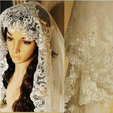 3 Meter White Ivory Cathedral Wedding Veils Long Lace Edge Bridal Veil Wedding Accessories Bride Mantilla Wedding Veil