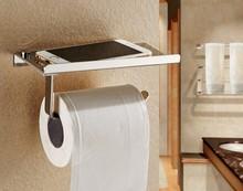 1PC Stainless steel bathroom paper holder with shelf bathroom Mobile phone towel rack toilet paper holder tissue boxes J2001 цена 2017