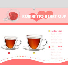 Double wall heat resistance romantic heart shape glass cup milk jusice coffe