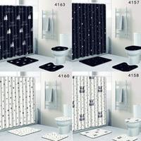 Bathroom Non slip Mat Set 4Pcs Lid Toilet Cover Pedestal Rug Bath Shower Curtain Slip Resistance Absorb Water Dust Bed Car Seat