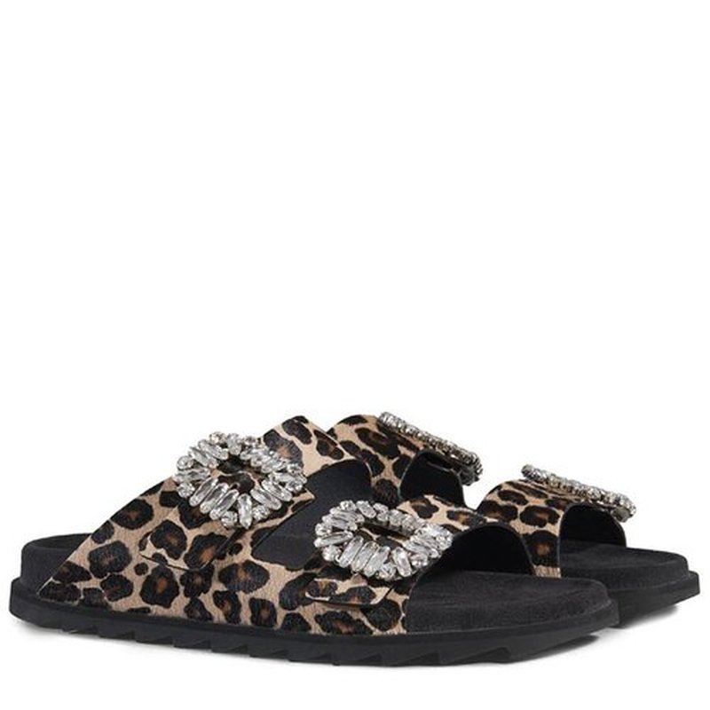 Brand Leopard Pattern Sandals Women Summer Genuine Leather Flat Bottomed Drill Fashion Cool Drag Star Flat Sole Shoes Leisure fashionable tassels ornament leopard pattern flat shoes loafers black leopard pair size 36