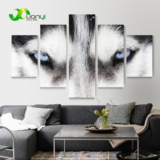 5 panel abstract wolf muur canvas schilderij woondecoratie modulaire muur foto voor woonkamer hd - Modulaire muur ...