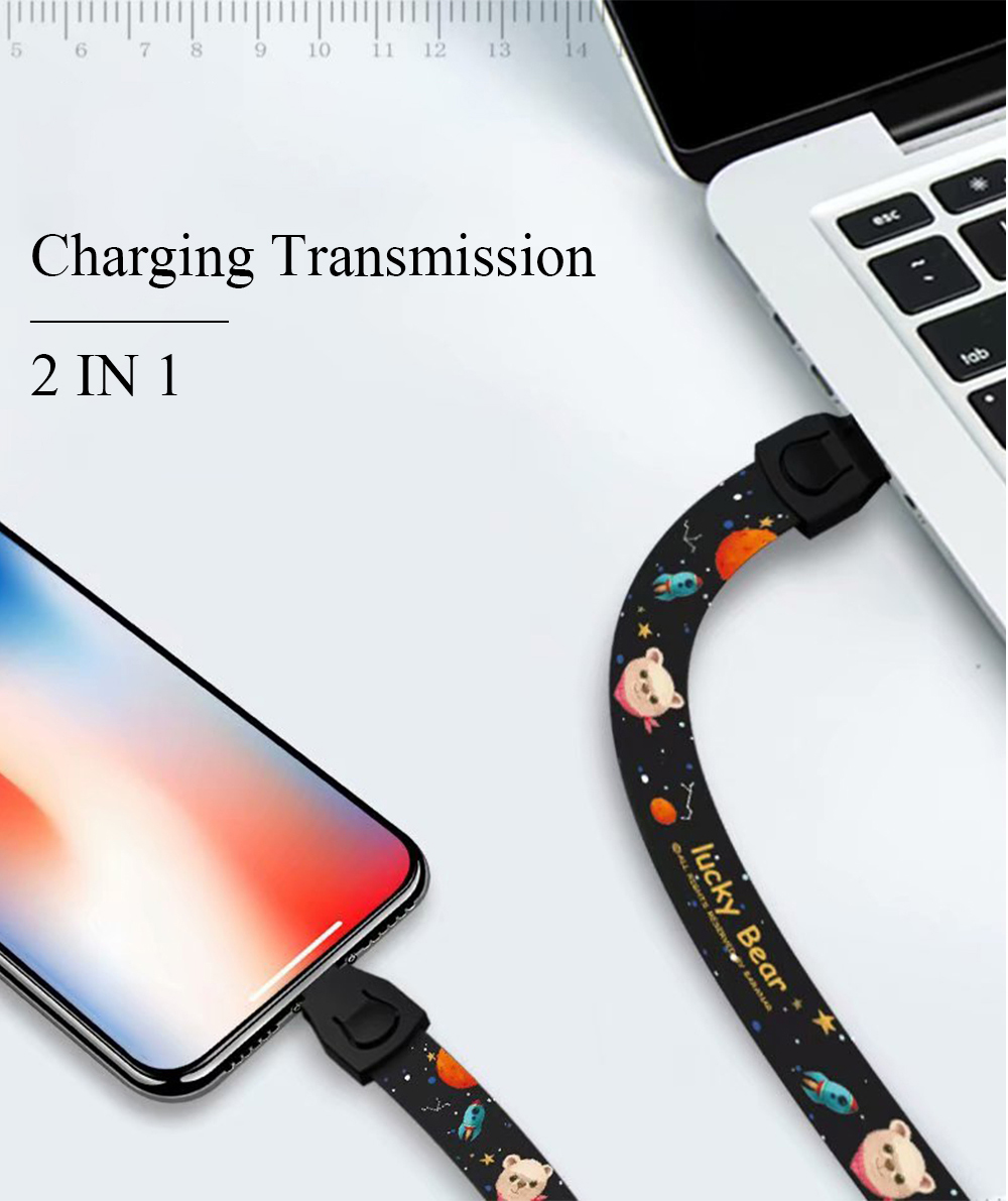 Ascromy Mobile Phone Lanyard Neck Wrist Strap USB Cable For iPhone X 7 8 Plus 6 6S 5 Type C Micro USB Cellphone Cartoon Lanyards Accessories (2)
