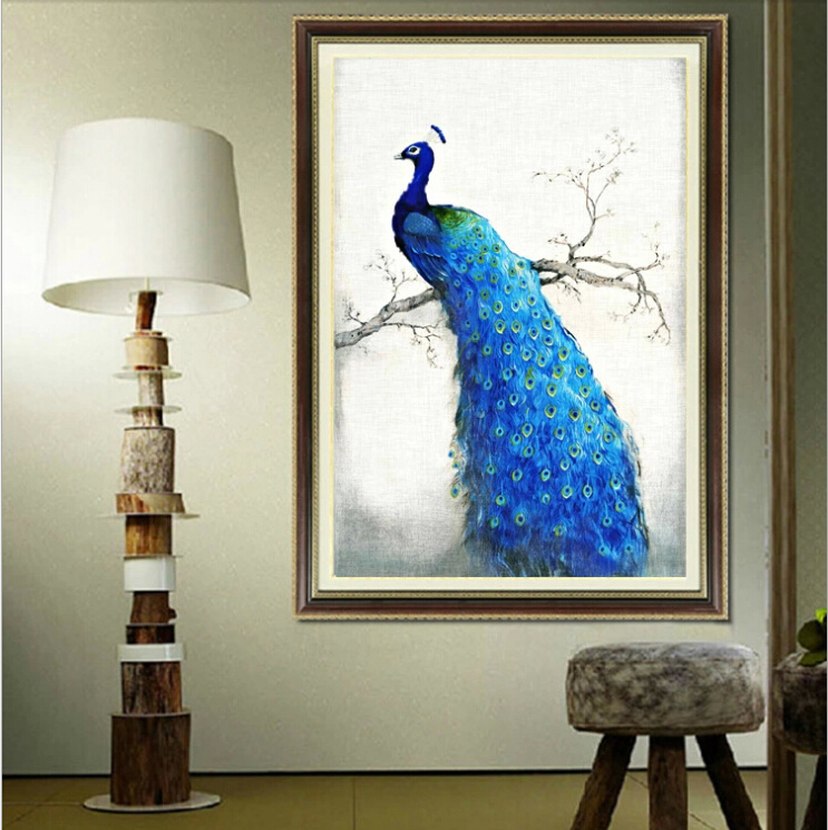 Diy 3d 5d Round Mosaic Diamond Embroidery Cross Stitch Picture Of Crystals Decorative Painting Rhinestone Animal Blue Peacock In