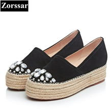 {Zorssar} Ladies flats Suede moccasins Womens Platform Shoes 2017 New Fashion rhinestone Real Leather Casual flat women loafers