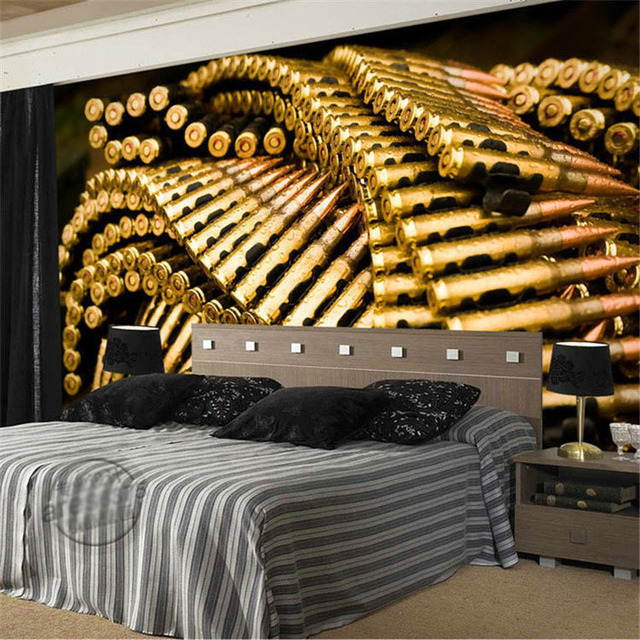 Benutzerdefinierte 3D Wandbild Gun Kugeln Fototapete Military Tapete Große  Wandkunst Raumdekor Schlafzimmer Sofa Hintergrund Wand Regen