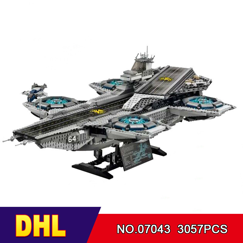 DHL LEPIN 07043 3057Pcs Super Heroes The SHIELD Helicarrier Model Building Kits Blocks Bricks Boy Toys Compatible 76042 lepin 07043 3057pcs super heroes the shield helicarrier model building blocks bricks toys kits for children compatible 76042