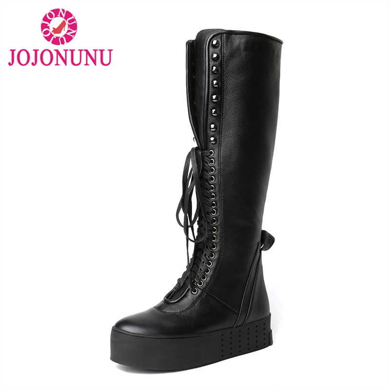 JOJONUNU Women Boots Cross Tied Real Leather Knee Boots Shoes Women Winter Fashion Novelty Fur Long Boots Female Ridding BootsJOJONUNU Women Boots Cross Tied Real Leather Knee Boots Shoes Women Winter Fashion Novelty Fur Long Boots Female Ridding Boots