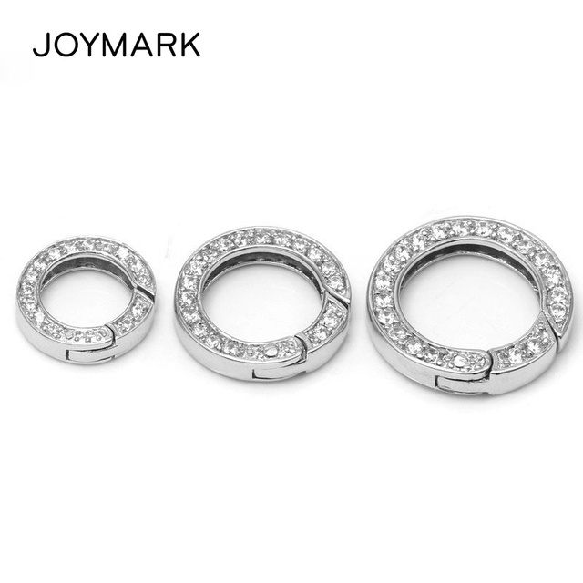 JOYMARK 925 Sterling Silver Micro Pave Zircon Round Spring Ring Clasp Closure For DIY Necklace And Bracelet SC-CZ037