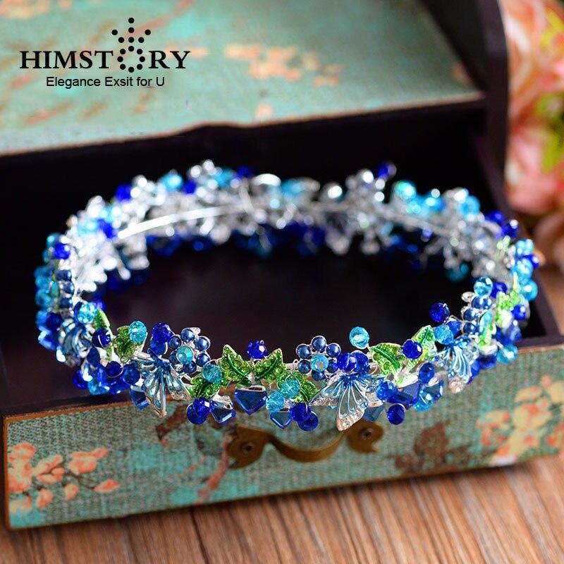 HIMSTORY Handmade European Royal Hair Crown Blue Rhinestone Round Tiara Princess Queen Crown Wedding Hair Accessories цена