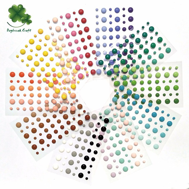 (50 sheets/lot) 54pcs round assorted size self adhesive enamel dots for scrapbooking