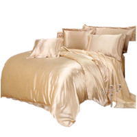 Luxury Satin Silk Bedding Sets Duvet Cover Flat Fitted Sheet Twin Full Queen King Size 4pcs