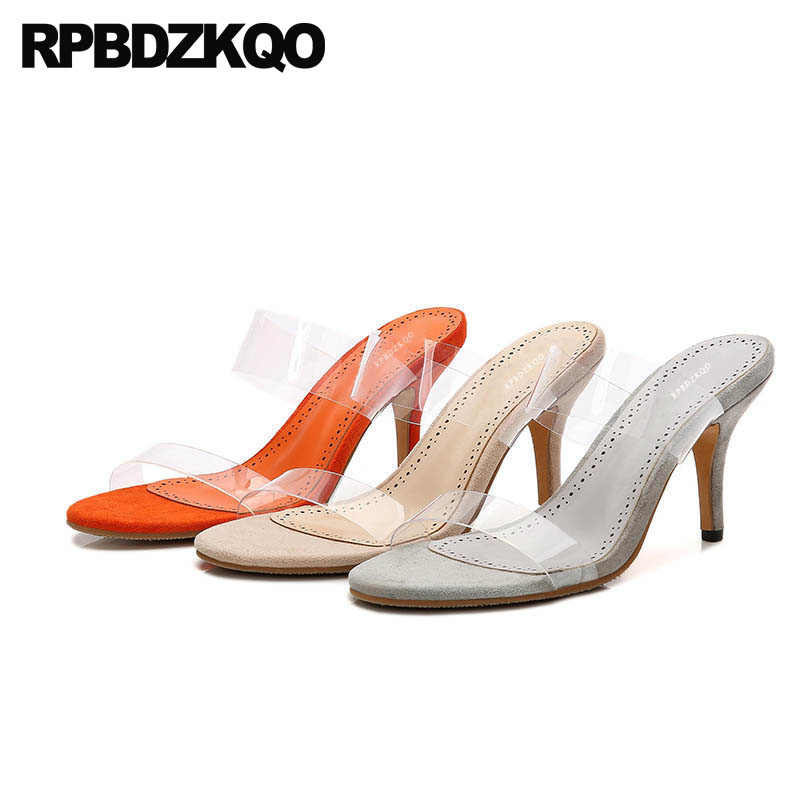 9b1be8e7f0 Sandals Transparent Summer Slip On Stiletto Sexy Slippers Clear Strap Heels  Slides High Women Pumps Shoes