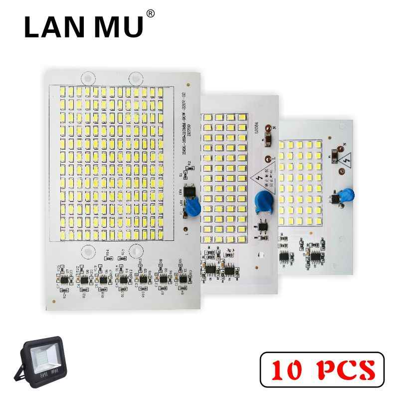 LAN му 10 шт. Светодиодный лампа рассеянного света 220 V SMD лампы 2835 5730 умная ИС (интеграционная схема) светодиодный свет Вход мощностью 10 Вт, 20 Вт, 30 Вт, 50 Вт 90 Вт для уличный прожектор