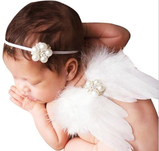 New Born Baby Sweety Pearls Feather Angelswing Headband Princess Baby Party Costumes Birthday Festival Favors Decors
