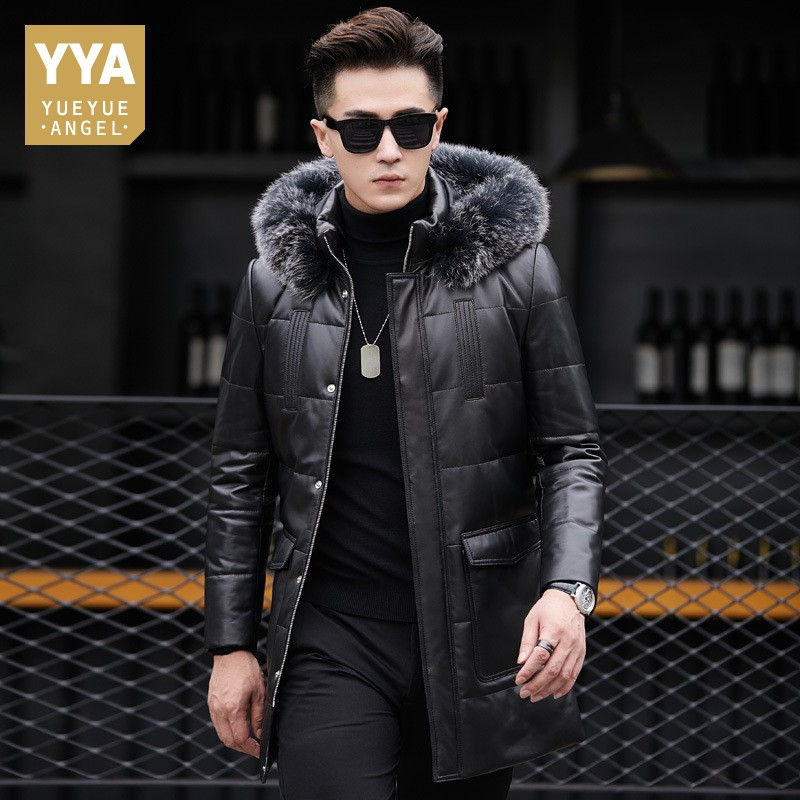 Detail Feedback Questions about Plus Thick Genuine Leather Down Jacket  Hooded Fur Collar Mens Jackets Winter Long Sheepskin Coat Luxury Business  Overcoat ... 3df2094a6
