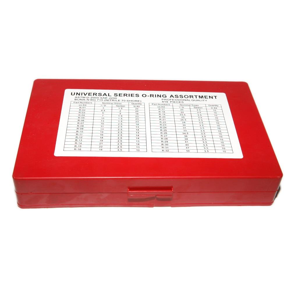 Tools : Universal 419Pcs Car Assorted Rubber O Ring Seal Assortment Kit Set Professional Garage Plumbing Transmission O rings Tool