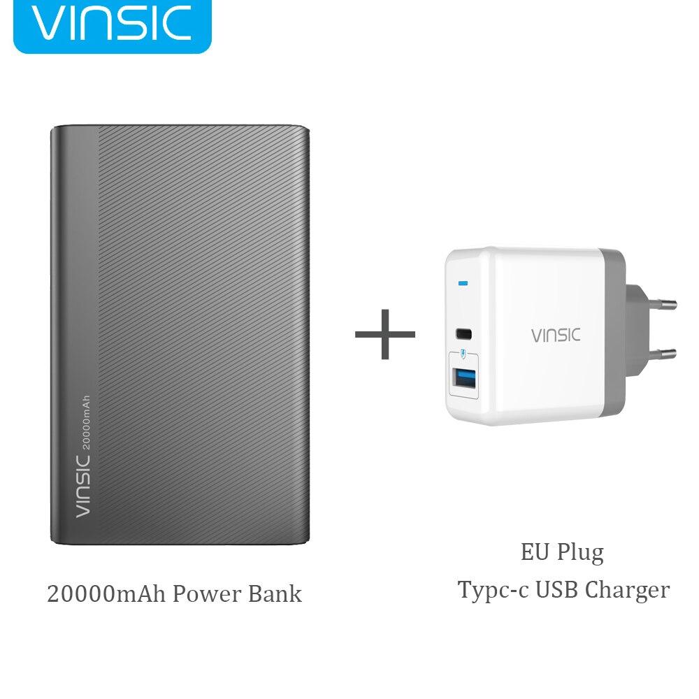 Vinsic 20000mAh Power Bank 5V/3A Type-C Dual Smart USB External Battery Charger for iPhone X Samsung S9 Xiaomi Mi8 HUAWEI P20