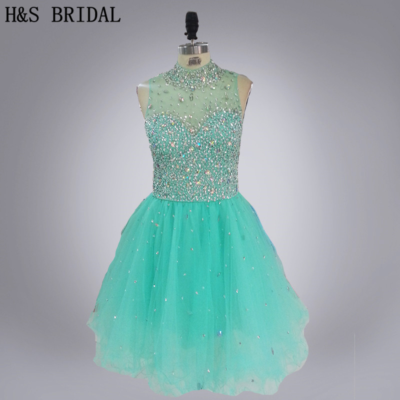 H&S BRIDAL Sheer Neck Real Picture Crystal Beaded Backless Short Prom   Dress   high neck beaded luxury light green   cocktail     dresses
