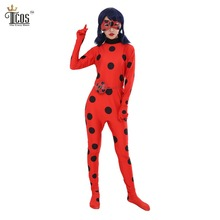 Miraculous Ladybug Girl Cosplay Costume Kids Spandex Lycra Jumpsuit Turtleneck Unitard Women Halloween Party Tight Suit