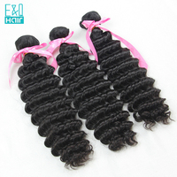 EQ 3 Pcs/Lot Deep Wave Double Weft Human Hair Bundles Unprocessed Malaysia Virgin Hair Weave Hair Extensions Free Shipping