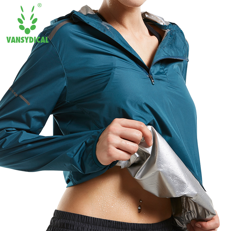 Vansydical Women Sports Jacket Sweat Running Jackets Women Top Lose Weight Slimming Sweating Sportswear Hooded Fitness Yoga Tops