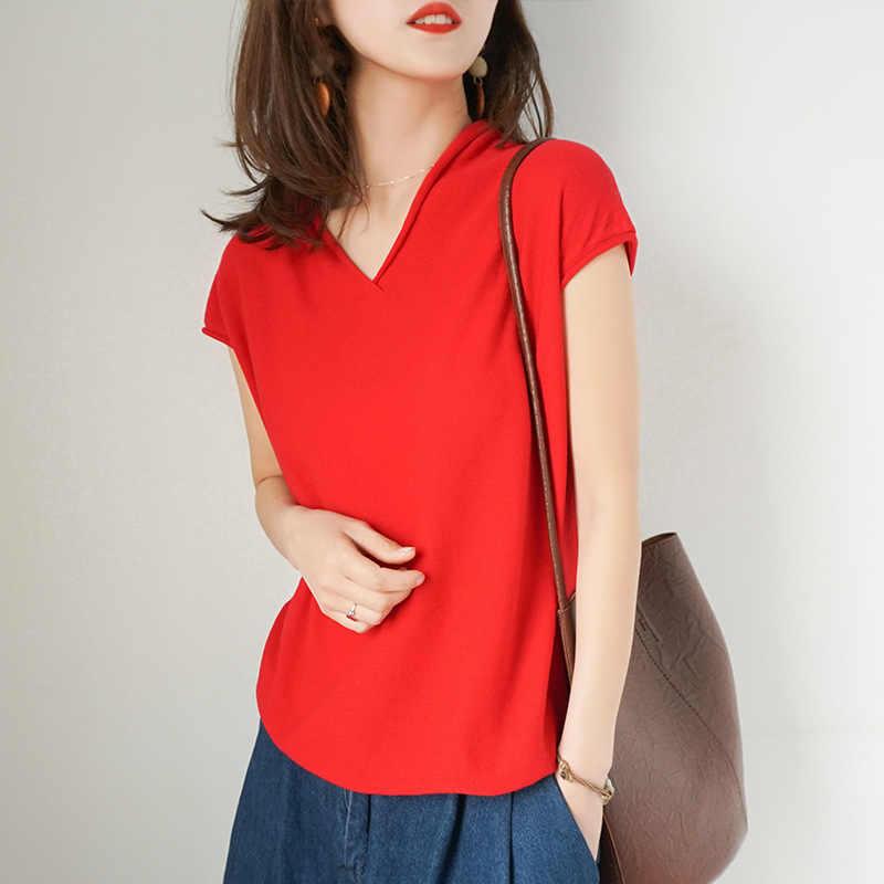 ขายส่งเกาหลีรุ่นฤดูร้อนฝ้ายถักแขนสั้นเสื้อยืดผู้หญิงหลวมเสื้อด้านล่างครึ่งแขน