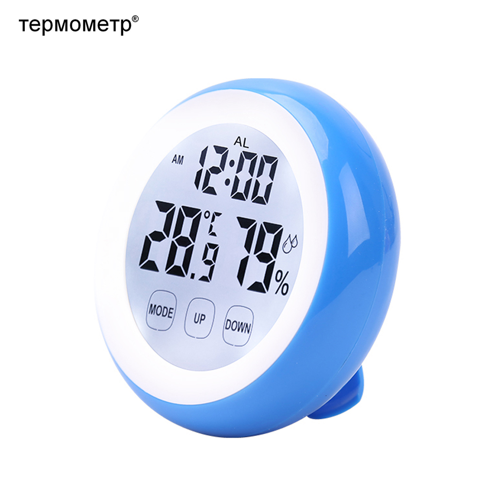 Gift Idea Magnetic Touch Screen Digital Alarm Clock with Thermometer Hygrometer Temperature Sensor Humidity Meter Table Desk