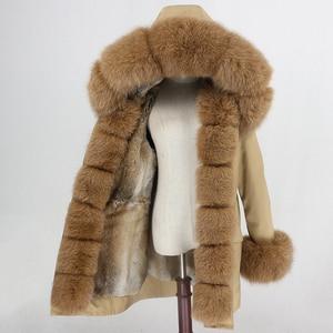 Image 4 - Oftbuy 방수 파카 롱 리얼 모피 코트 천연 너구리 여우 모피 칼라 후드 토끼 모피 라이너 두꺼운 따뜻한 겉옷 streetwear