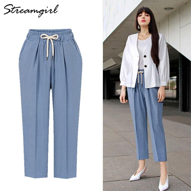 Women's Office Plus Size Pants Capris Big Size Summer High Waist Wide Leg Cotton Harem Pants Women Trousers Loose Pant Female