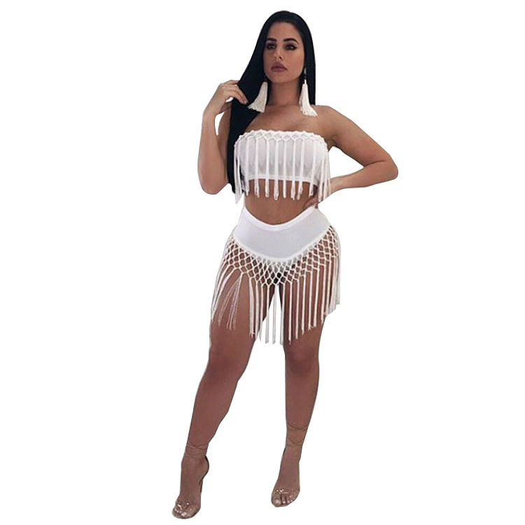 Women's Clothing Summer Sexy Bodysuits Women Beach Sexy Wear Two Piece Short Rompers Womens Jumpsuit Black White Tassel Bodysuit