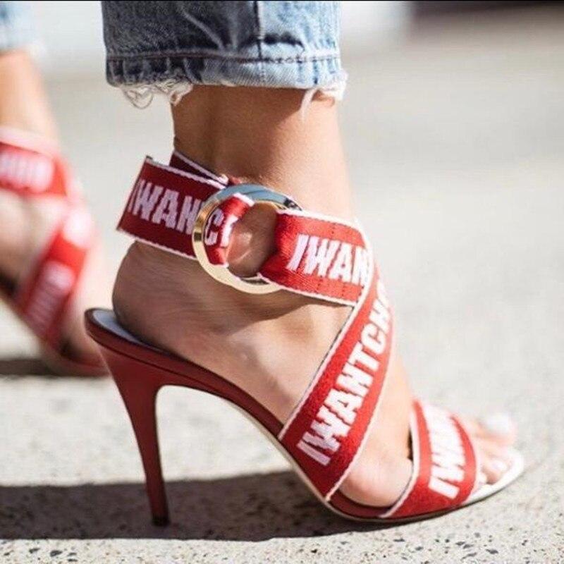 Show Mode Soirée Dames Chaussures De Femmes Talons Noir Pompes Haute Sexy Mariage Design Lettres Lanières Femme Show D'été As À Rouge Gladiateur as Sandales Z1wUAqU5xp