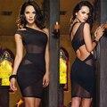 2017 nuevo estilo de un hombro night club party dress mujeres patchwork mesh bodycon lápiz del vendaje dress plus size vestidos