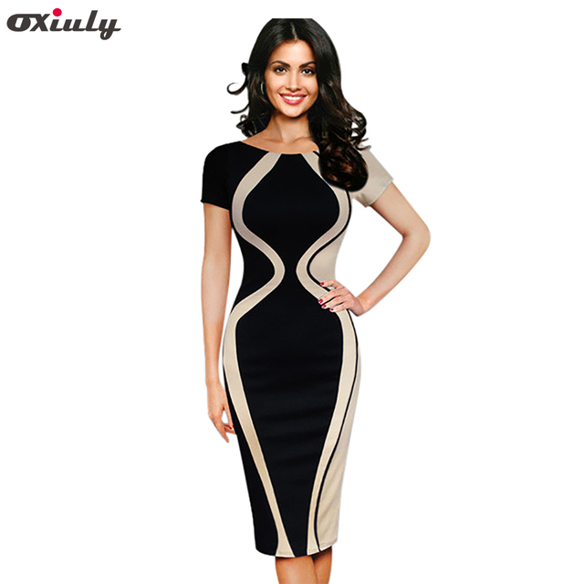 0e2f7bf590b5c US $29.99 |Oxiuly Womens Elegant Optical Illusion Color Block Contrast  Patchwork O Neck Bodycon Work Casual Ladies Office Wear Pencil Dress-in  Dresses ...